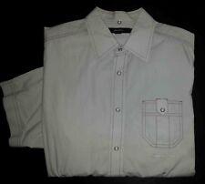 Sean John Shirt Snap-up XXL Solid Lt Gray Pink Stitching Club S/S c1486