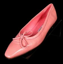 MANOLO BLAHNIK Pink Nappa Leather Bow Vamp Classic Ballerina Flats 38