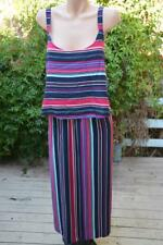 Autograph Striped Maxi Dress Layered Bodice Overlay Size 26. - New.