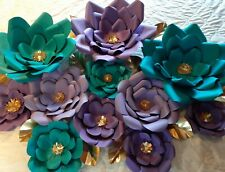 """GIANT PAPER FLOWERS up to 18"""" MADE IN USA FULLY ASSEM PURPLE TURQUOISE TEAL GOLD"""