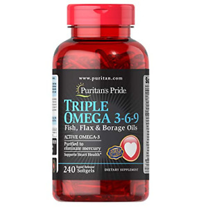 Puritans Pride Triple Omega 3-6-9 Fish, Flax & Borage 240 Count (Pack of 1)