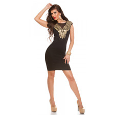 robe noire moulante avec broderies dorées taille M 38 sexy fashion femme 94fe23aad7d0