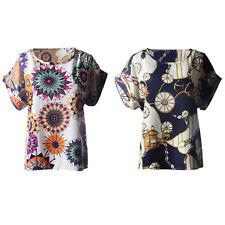 2017 Moda Verano Mujer Nuevo Estampado Manga Corta Top De Chifón Camiseta Blusas
