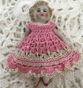 "Crochet Dress for 3 1/2"" Frozen Charlotte Flapper Mignonette Kestner Pink/ecru"