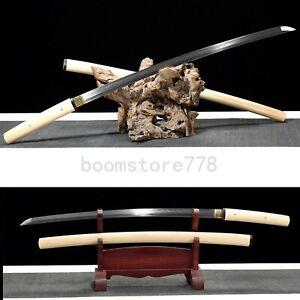 Full Tang Japanese Shirasaya Katana Sword Folded Steel Clay Tempered Sharp