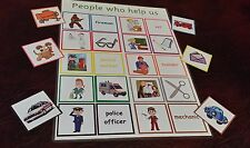 Match Game - PEOPLE WHO HELP US - board + counters  EYFS learn about occupations