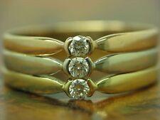 18kt 750 TRICOLORE ORO ANELLO con 0,18ct GUARNIZIONE con brillante diamante// RG 57/4,6g