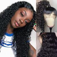 360 Lace Frontal Wig 100% Peruvian Virgin Human Hair Full Wigs Deep Curly #1B wj