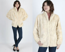 Vintage 80s Blonde Mink Fur Coat Stroller Cape Plush Patchwork Bomber Jacket