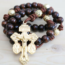 Rosary Brown Paracord Wood Gold Wearable Rope Cord Catholic Rosario