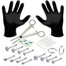Professional Body Piercing Kit 22 Pieces for Nose Ring Bone Studs 20 Gauge 0.8mm