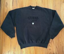 1990s VTG GUESS JEANS USA Georges Marciano BLACK EMBROIDERED SWEATSHIRT XL