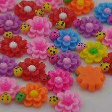20 pcs Sunflower Ladybug Flat Backed Resin Flatback Button