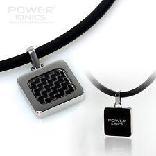 New Power Ionics Black Carbon Fiber Titanium Ions Pendant Necklace Balance Body
