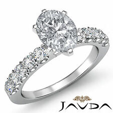 Elegante Ovalado Diamante Clásico Anillo de Compromiso GIA i VS2 14k Oro Blanco