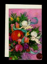 Vintage Christmas Angels Cherubs Candles Ornaments - Greeting Card W/ Tracking