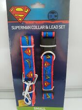 BLUE SUPERMAN small breed dog puppy collar and lead set BNWT DC comics