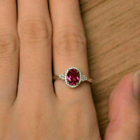 Elegant Oval Red Ruby Halo 925 Silver Engagement Jewelry Wedding Ring Gorgeous