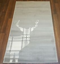 NEW MATS/RUG NOVELTY DESIGNS 80CMX150CM BARGAINS STANDING CHECK STAG GREY/CREAM