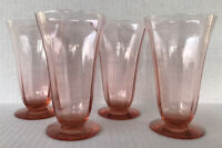 "Vintage Pink Depression Glass Iced Tea Goblets 5 1/2"" Footed Tumblers Set of 4"