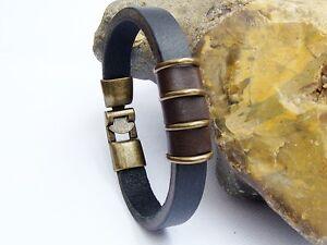 Mens Black Brown Cowhide Leather Bracelet Antique Bronze 8.2 inch