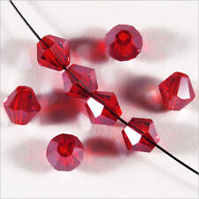 30 Perles Tchèques Toupies en Cristal 6mm Rouge