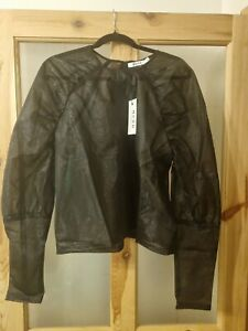 BNWT NA-KD sparkling Gathered Sleeve Blouse  Size 16 Black See Through