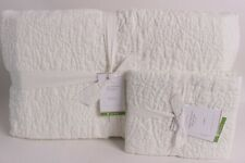 Pottery Barn Belgian Flax Linen Floral Stitch full queen quilt sham clasic ivory