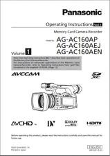 Panasonic AG-AC160A Camera (English) Instruction Manual Book (Brand New)