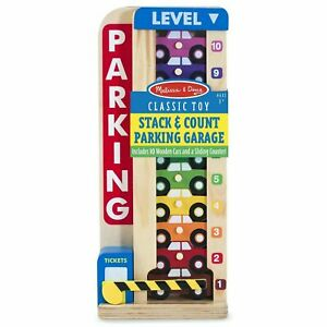 Melissa & Doug Wooden Stack & Count Parking Garage, 10 Cars, Kids Ages 3 Years +