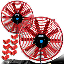 """2x Red 14"""" High Performance Electric Cooling Pull Slim Radiator Fan For Ford"""