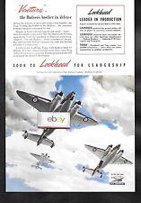 LOCKHEED AIRCRAFT CORP 1941 VENTURA THE HUDSON'S BIG BROTHER IN DEFENSE AD