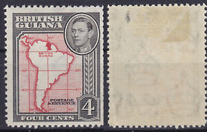 British Guiana 1938 4 Cents Sc-323a KGVI Map of South America MLH - US Seller
