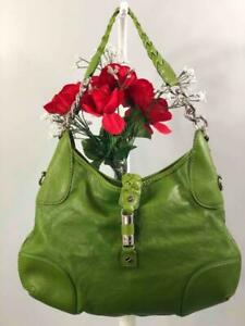 MICHAEL KORS Green Smooth Leather Braided Strap Hobo Shoulder Bag