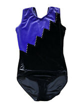 Milano Purple/black Velour Leotard Size 32 (age 11-13)