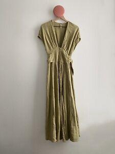 Free People Cotton Button V-neck Maxi Dress Size Medium