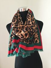 Designer Inspired Leopard Print Scarf Pashmina Striped Border Long Softest NEW