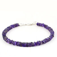 55.00 Cts Natural Untreated 8 Inches Long Purple Amethyst Beads Bracelet (RS)