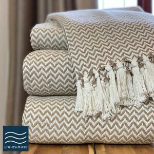 Luxury 100% Cotton White / Beige Linen Herringbone Tweed Blanket Sofa Bed Throw