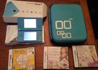 Nintendo DSi Sky Blue  Handheld Video Game System CIB w 5 games& case w extras