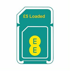 £5 Credit/Loaded EE 3 in 1(Standard+Micro+Nano) Pay As You Go SIM Card.