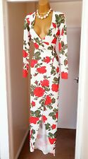 MISSGUIDED White Red Floral Summer Holiday Tea Party Wrap Maxi Dress - Size 12