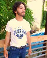 HILTON HEAD ISLAND White 100% Cotton Size S T-Shirt