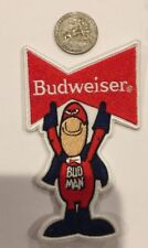 "BUDWEISER "" BUD MAN "" EMBROIDERED IRON ON PATCH 4 X 2.5"" NICE"