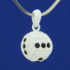 W Swarovski Crystal Black Color White Enamel Ball Paint 3D Volleyball Necklace