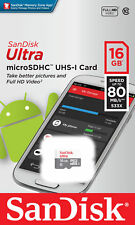 SANDISK 16GB ULTRA CLASS 10 UHS-1 MICRO SD SDHC MEMORY CARD 80MB/S RETAIL packng