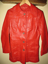 Fire engine Red Womens Red Leather 70's Jacket Coat Made Israel Medium Size 10