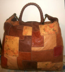 Lucky Brand Vtg Lrg Buttery Italian-Leather-Patchwork Magnetic-Top Shoulder Bag