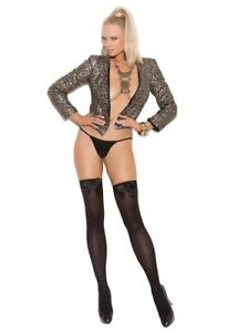 BNWT Elegant Moments Opaque Thigh Hi Stocking With Bow (1708) One Size Black