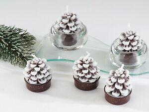 6er Pack Teelichter Zapfen mit Schnee weiß braun Formano W20